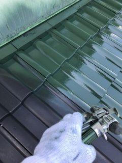 兵庫県三木市のセメント瓦屋根塗装(中塗り)