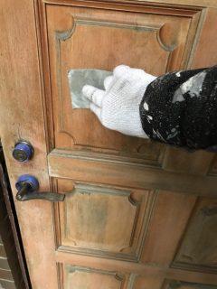 三木市自由が丘波板張替え、玄関ドア塗装